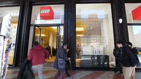 Lego storefront Milan stock video footage