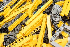 Lego Technic Pieces Pile Close Up. BUCHAREST, ROMANIA - DECEMBER 09, 2014: Lego Technic Pieces Pile Close Up. Technic is a line of Lego interconnecting plastic Royalty Free Stock Photos