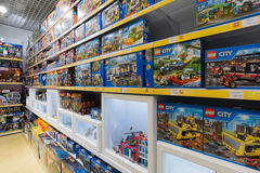 Lego Toys For  Children On Supermarket Stand Royalty Free Stock Photos