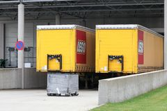 Lego trucks and warehouse Royalty Free Stock Images