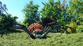 Legoland-Spinne bult durch lego Stücke Lizenzfreies Stockbild