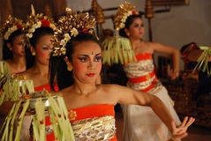 Legong dance. Balinese Legong dance performed by traditionally dressed women in Ubud, Bali, Indonesia
