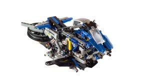 Legoontwerp van een toekomstig vliegend die voertuig als Hoverbike wordt beschreven stock afbeeldingen
