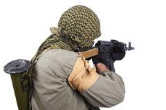 Legosoldat med AK 47 Arkivfoto