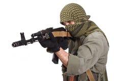 Legosoldat med AK 47 Arkivbild