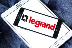 Legrand electronics company logo. Logo of Legrand electronics company on samsung mobile. Legrand is a French industrial group that manufacturer switches and Stock Photography