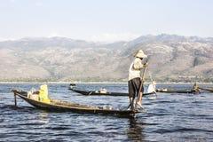 Legrowing fisherman at Inle lake Stock Images