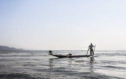 Legrowing fisherman at Inle lake Stock Photography