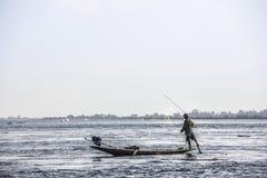 Legrowing fisherman at Inle lake Royalty Free Stock Images