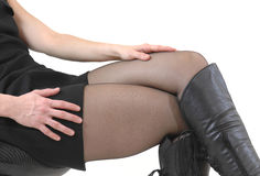 Legs. Of a woman in black pantyhose and boots Royalty Free Stock Image
