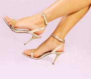 Legs. Beautiful woman legs in gold high heel shoes Royalty Free Stock Photo
