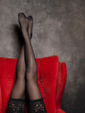 Legs. Sexy legs in black stockings Stock Photos