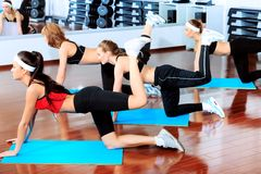 Legs. Group of young women in the gym centre Stock Images