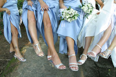 Legs. Shot wedding day of bridesmaids stock photo