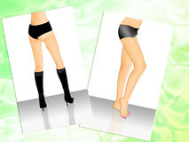 Legs. Two pictures with scene graceful drumstick Stock Photos