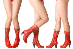 Legs. Female legs in red top-boots Royalty Free Stock Photo