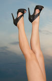 Legs against the sunset sky Royalty Free Stock Images