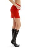 Legs and back of lady in red skirt #2 Stock Photo