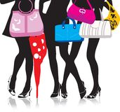 Legs with bags. Vector illustration, woman legs with bags. Shopping royalty free illustration