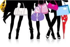 Legs_with_bags. Vector illustration, woman sexy legs with bags. Shopping Royalty Free Stock Photo