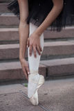 The legs of a ballerina. In ballet pointes (warm Stock Photo
