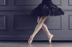 Legs of a ballerina on a black background. The concept of ballet dancing stock photo
