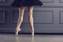Legs of a ballerina on a black background. The concept of ballet dancing stock images