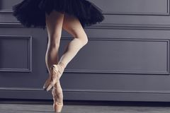 Legs of a ballerina on a black background. The concept of ballet dancing royalty free stock image