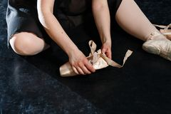 Legs of ballerina, Pointe shoes. ballet dancers, grace, flexibility, dancing.ballerina, pointe shoes,dances royalty free stock photo