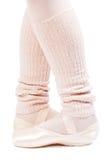 Legs in ballet shoes 3. Legs in ballet shoes on a white background stock image