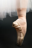 Legs in ballet shoes. On a black backgrounde Royalty Free Stock Images