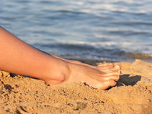 Legs on beach Royalty Free Stock Photo