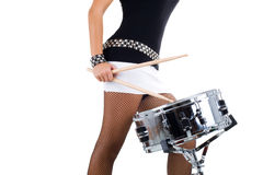 Legs of beautiful brunette and snare drum Royalty Free Stock Photos