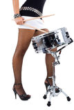 Legs of beautiful brunette and snare drum Stock Image