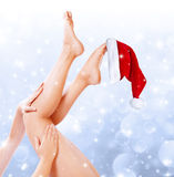 Legs beauty treatment of christmas Stock Images