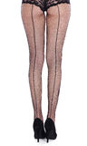 Legs from behind in fish-net stockings Royalty Free Stock Images