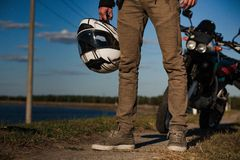 Close view on biker`s legs from the front royalty free stock image
