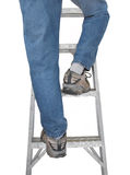 Legs in blue jeans on ladder isolated. Royalty Free Stock Image