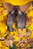 Legs in boots on the autumn leaves Royalty Free Stock Image