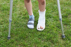 Legs of boy on crutches; left leg in cast Stock Image