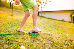 Legs of a boy in garden at the sprinkler Royalty Free Stock Image