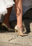 Legs of the bride Royalty Free Stock Photos