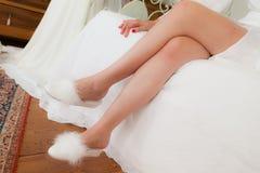 Legs of the bride Stock Photos