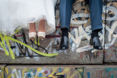 Legs bride and groom Royalty Free Stock Image