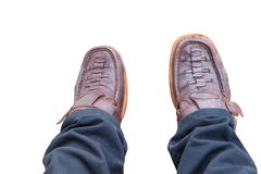 Legs and brown leather shoes royalty free stock photos