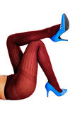 Legs in burgundy pantyhose. Stock Photography