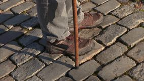 Legs with cane on path. In autumn day stock video footage