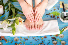 Legs care in spa Royalty Free Stock Photos