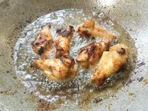 Legs of chickens in hot oil. The Legs of chickens in hot oil Stock Image