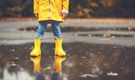 Legs of child in yellow rubber boots in  puddle in autumn Stock Photos